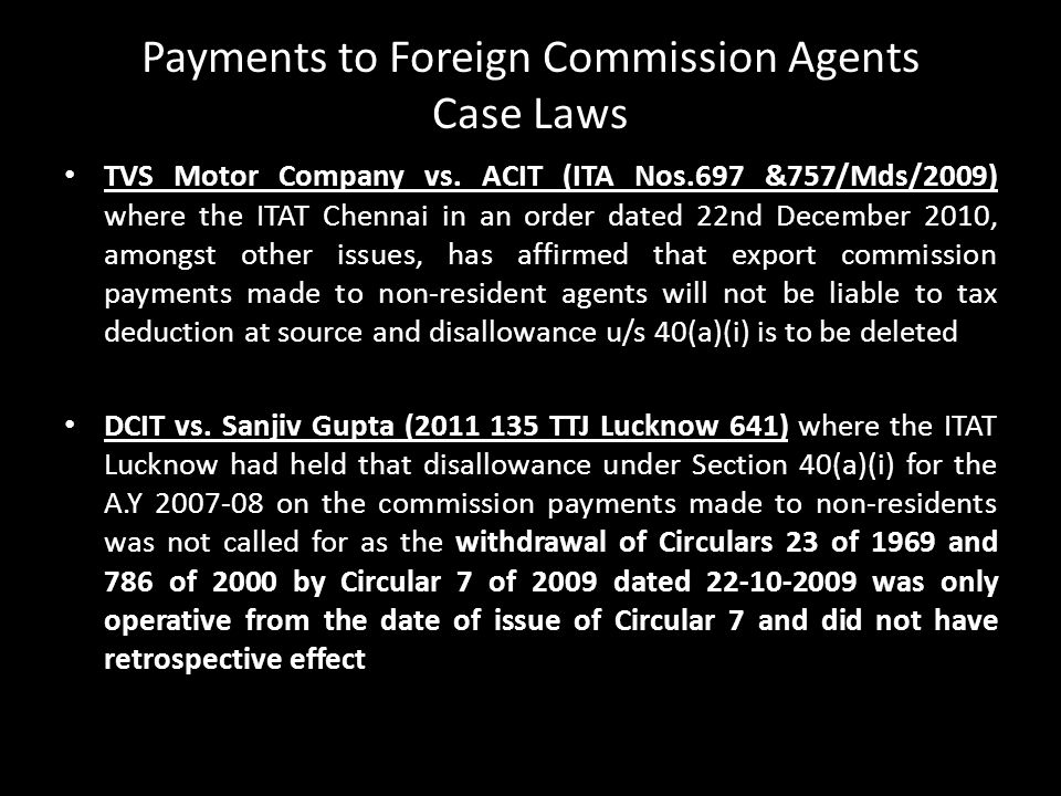 Payments to Foreign Commission Agents Case Laws