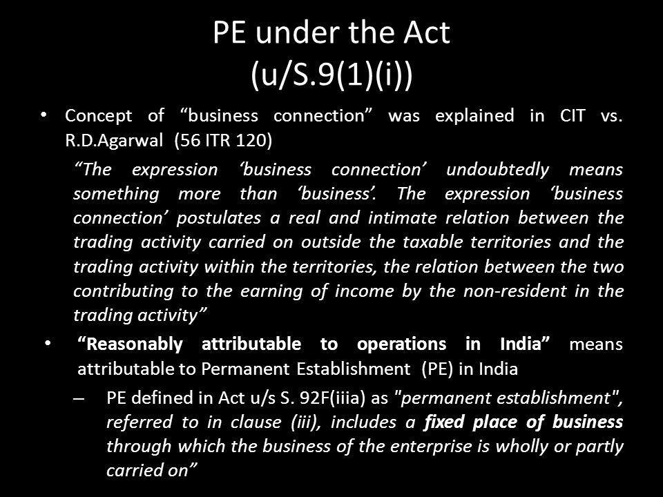 PE under the Act (u/S.9(1)(i))