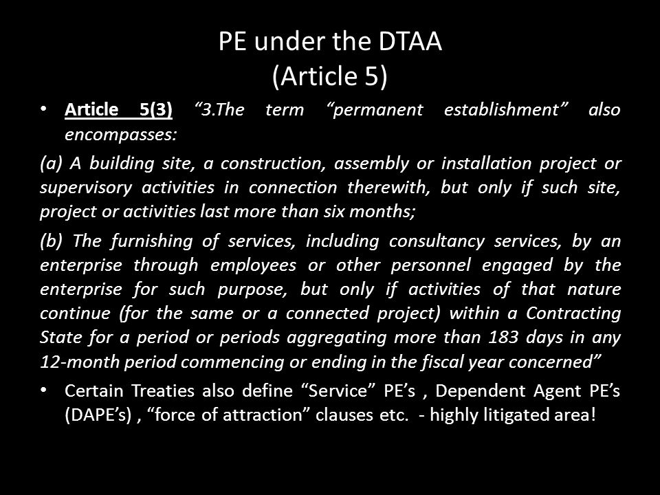 PE under the DTAA (Article 5)