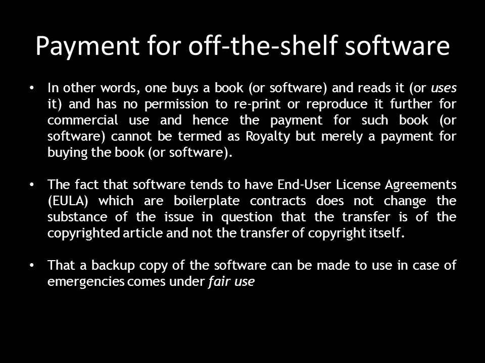 Payment for off-the-shelf software