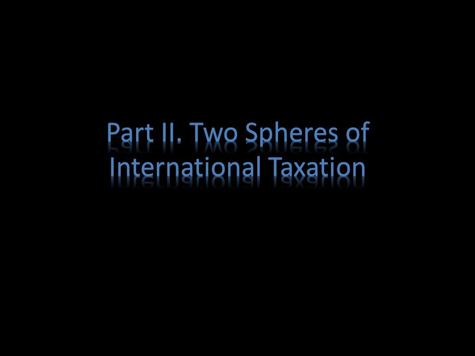 Part II. Two Spheres of International Taxation