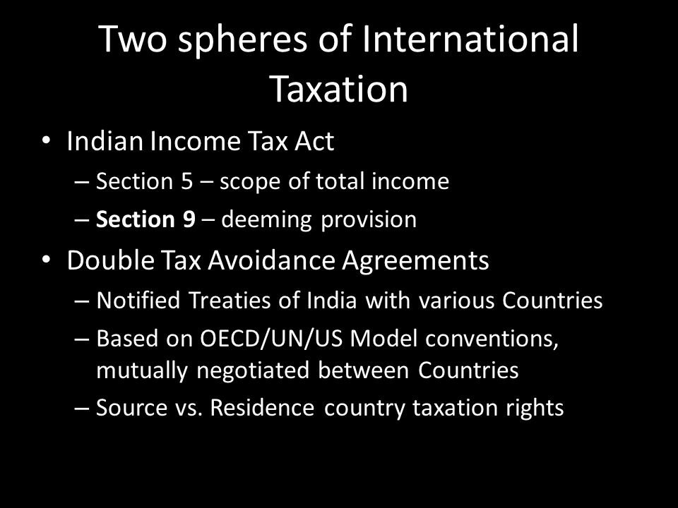 Two spheres of International Taxation