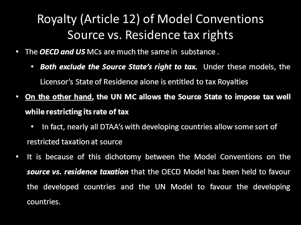 Royalty (Article 12) of Model Conventions