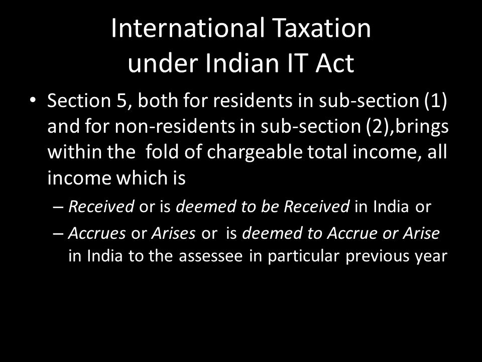 International Taxation under Indian IT Act