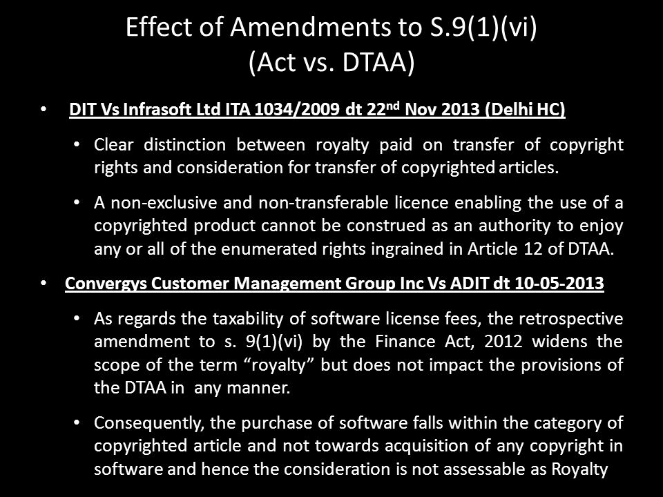 Effect of Amendments to S.9(1)(vi) (Act vs. DTAA)