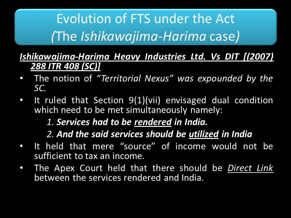 Evolution of FTS under the Act (The Ishikawajima-Harima case)