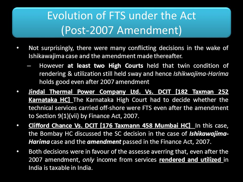 Evolution of FTS under the Act (Post-2007 Amendment)