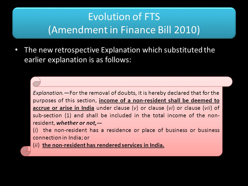 Evolution of FTS (Amendment in Finance Bill 2010)