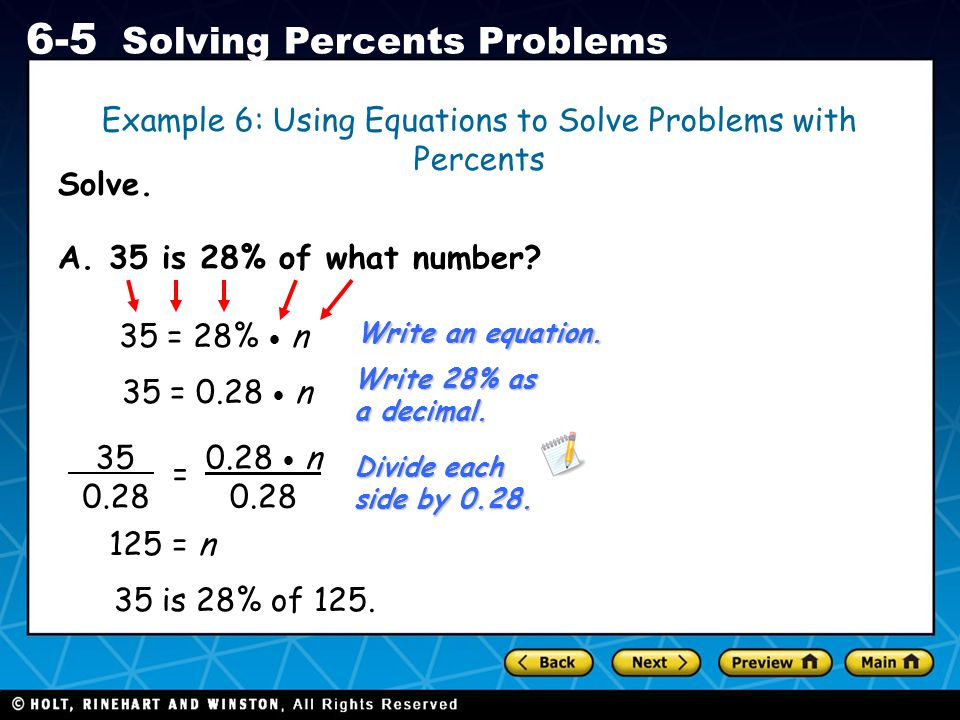 Example 6: Using Equations to Solve Problems with Percents