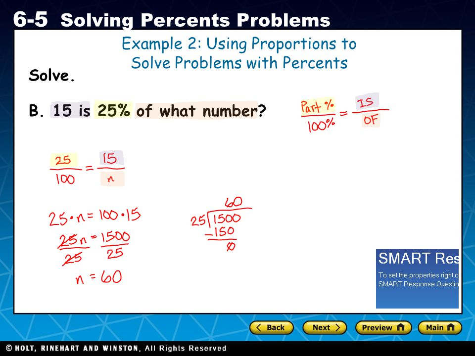 Example 2: Using Proportions to Solve Problems with Percents