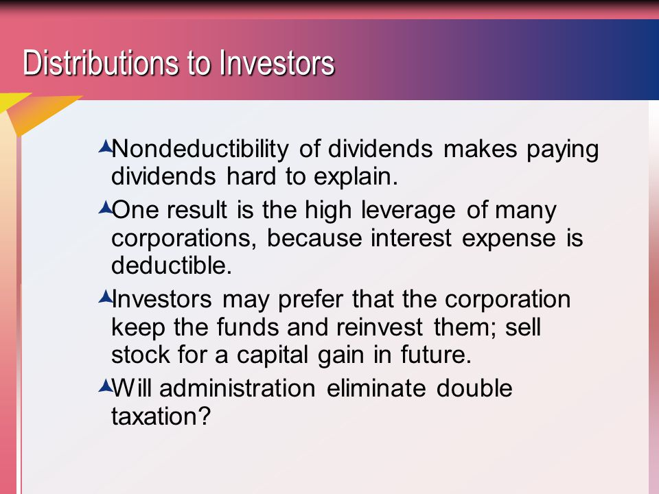 Distributions to Investors