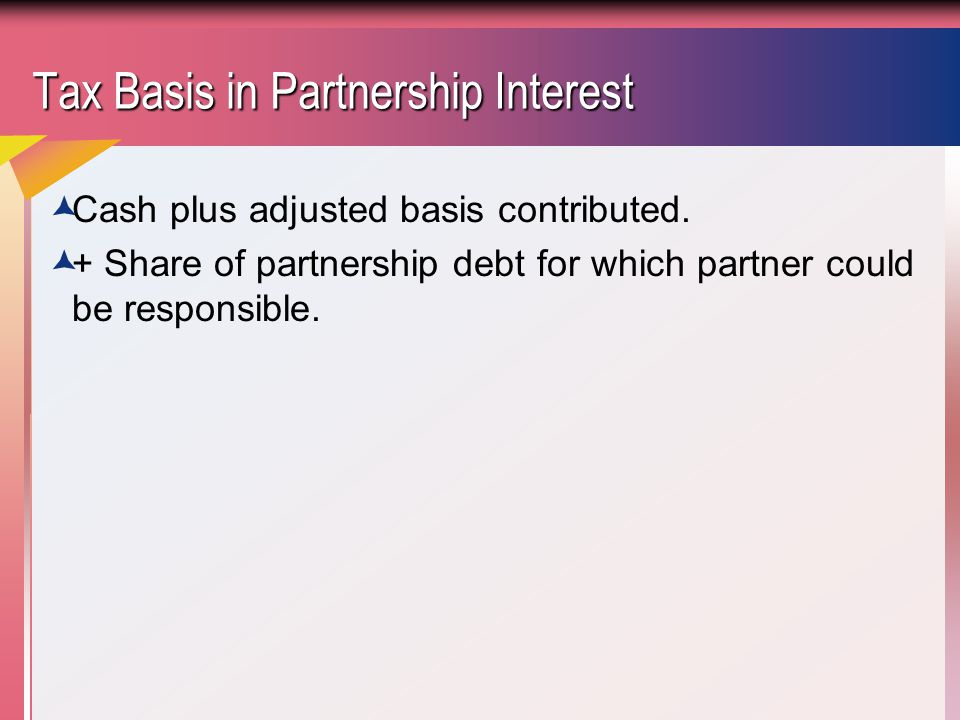 Tax Basis in Partnership Interest