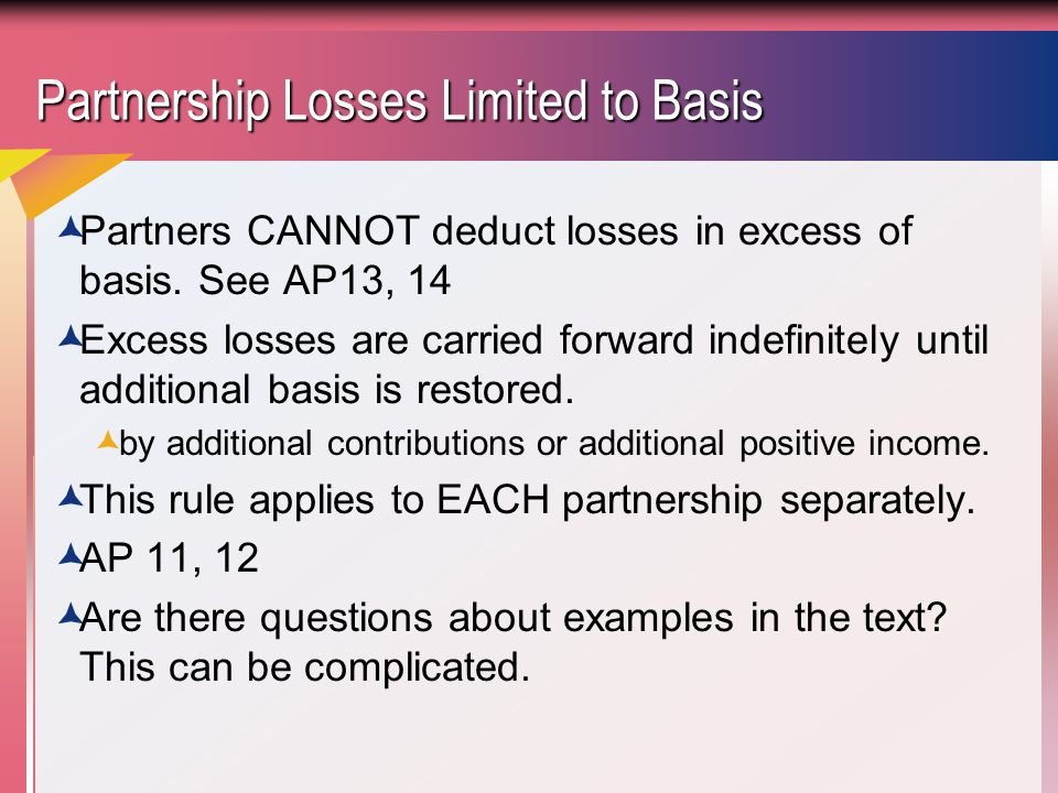 Partnership Losses Limited to Basis