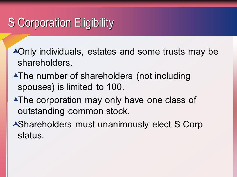 S Corporation Eligibility