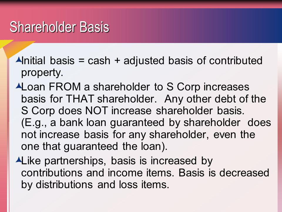Shareholder Basis Initial basis = cash + adjusted basis of contributed property.