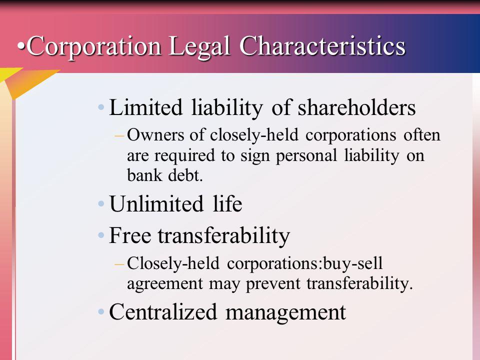 Corporation Legal Characteristics