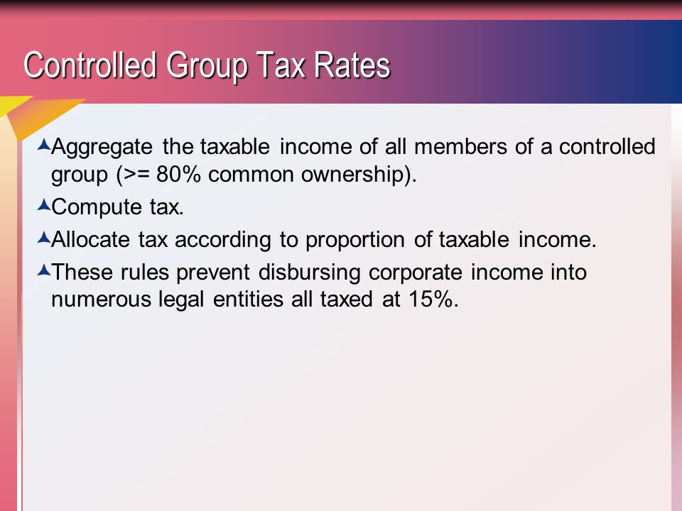 Controlled Group Tax Rates