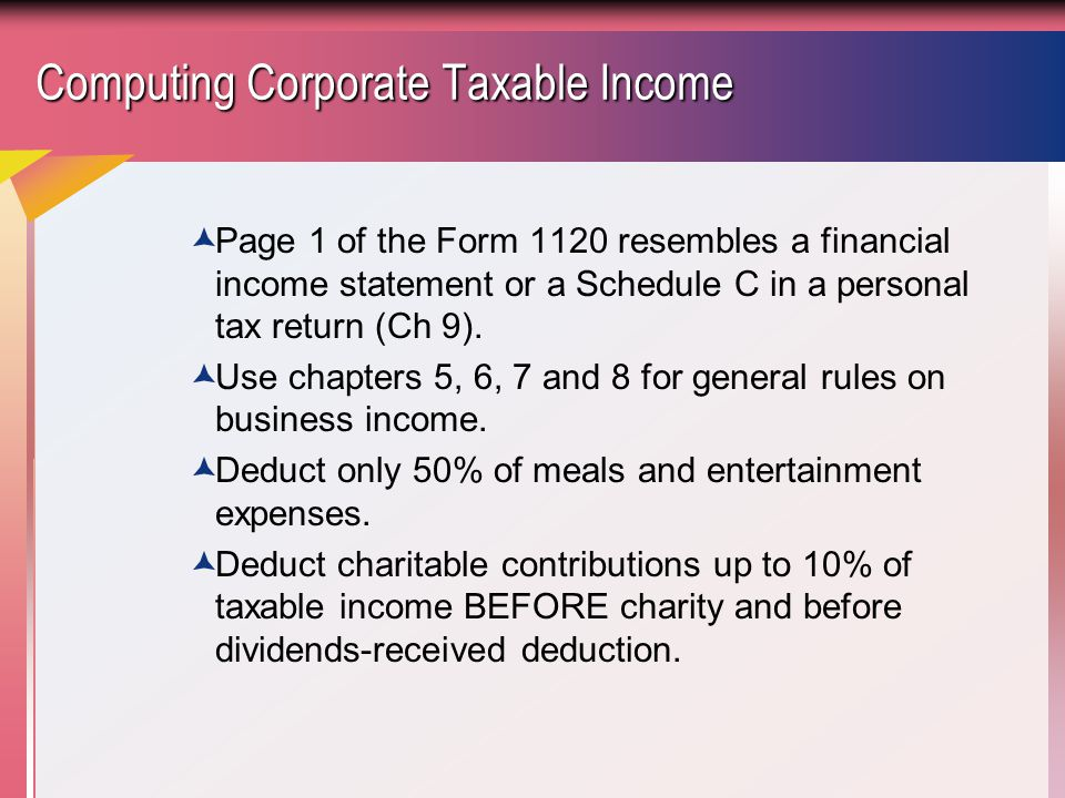 Computing Corporate Taxable Income