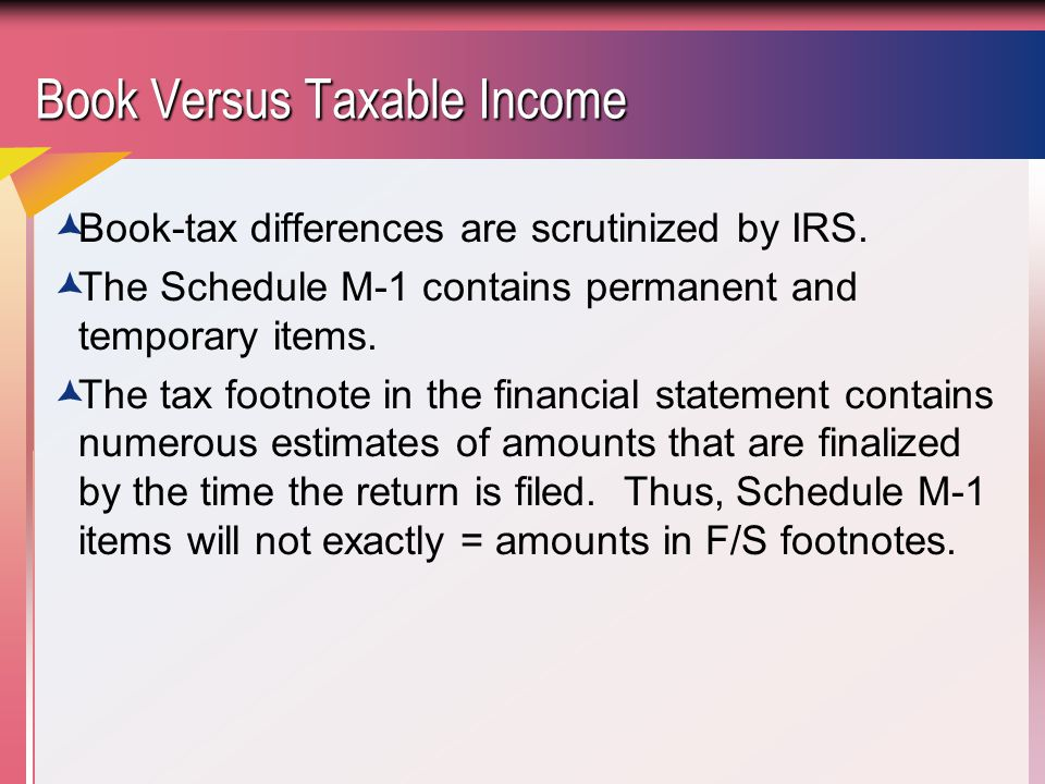 Book Versus Taxable Income