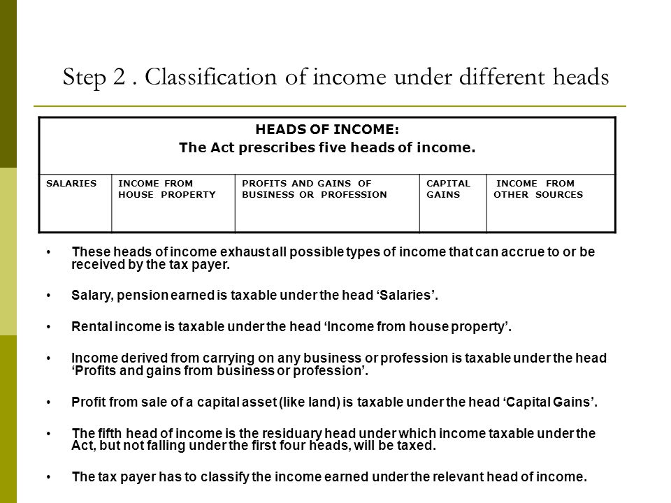 Step 2 . Classification of income under different heads