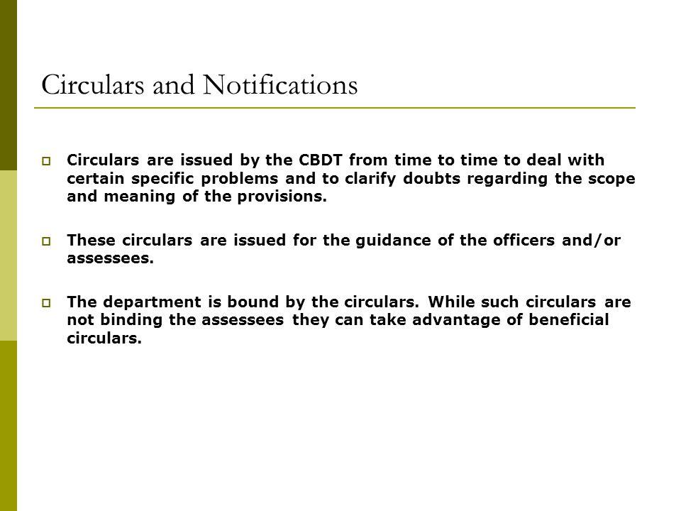 Circulars and Notifications