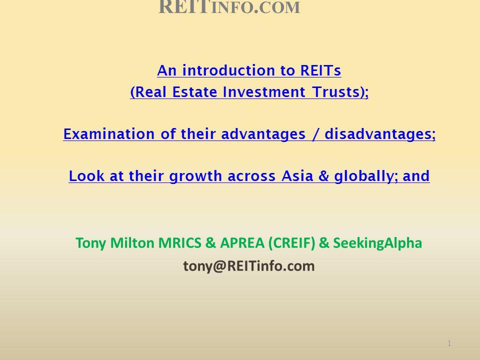 REITinfo.com Tony Milton MRICS & APREA (CREIF) & SeekingAlpha