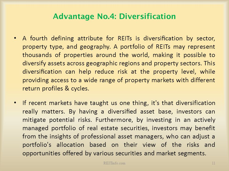Advantage No.4: Diversification