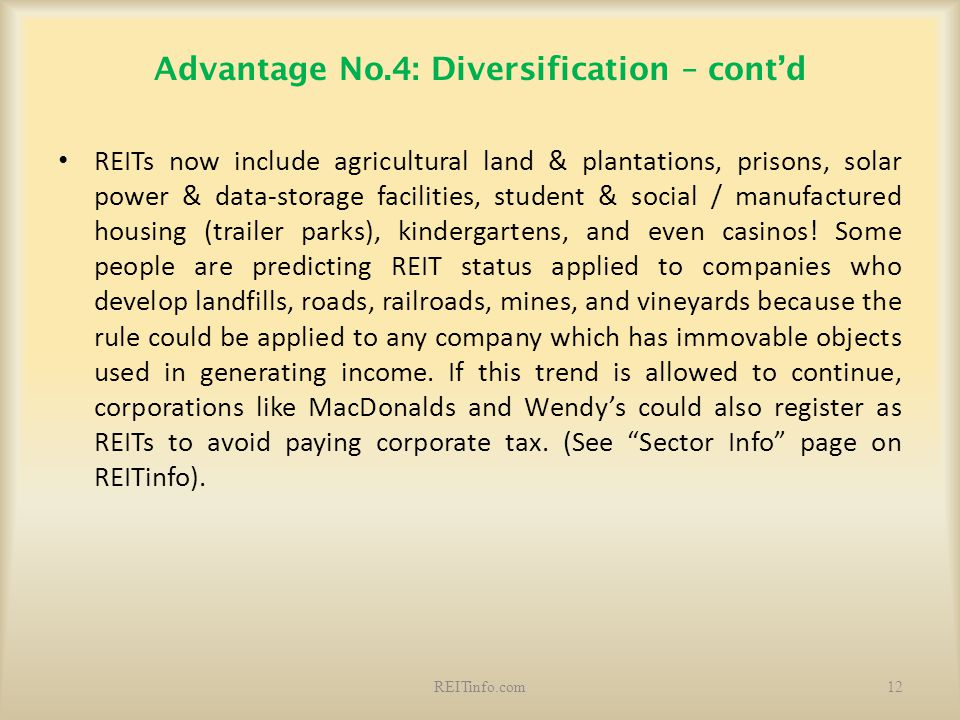 Advantage No.4: Diversification – cont'd