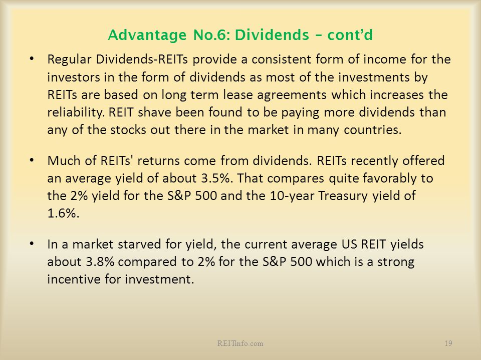 Advantage No.6: Dividends – cont'd