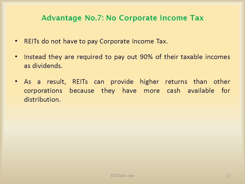 Advantage No.7: No Corporate Income Tax