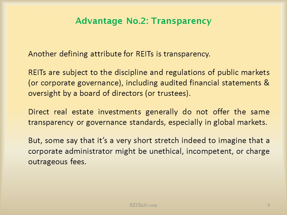 Advantage No.2: Transparency