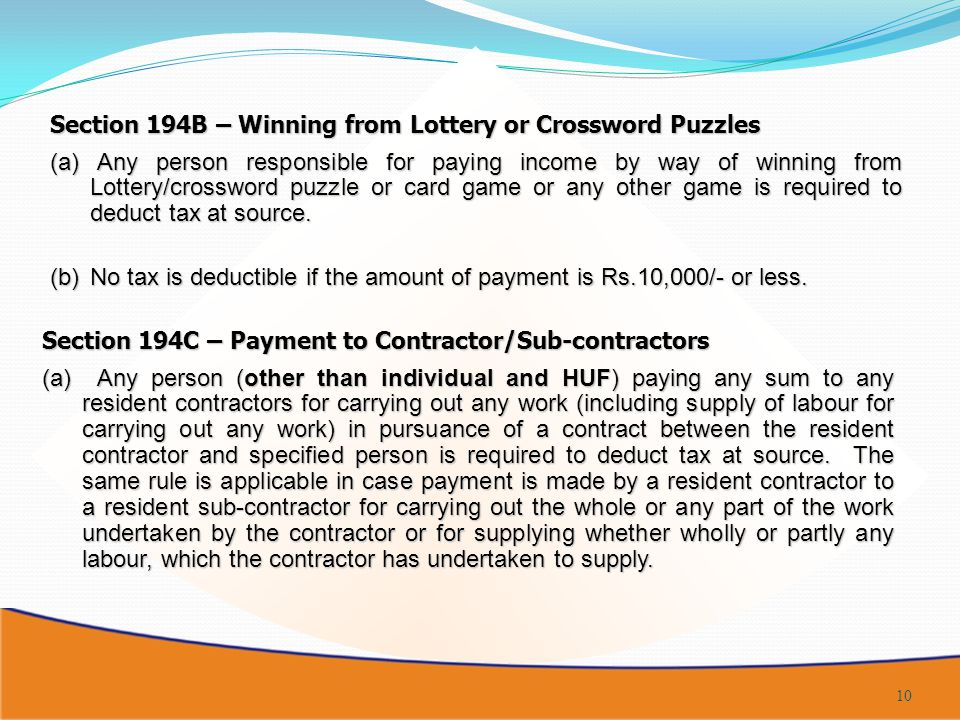 Section 194B – Winning from Lottery or Crossword Puzzles