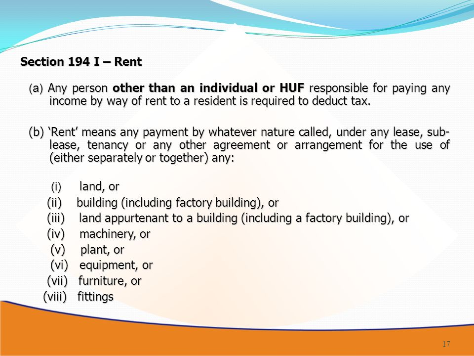 Section 194 I – Rent