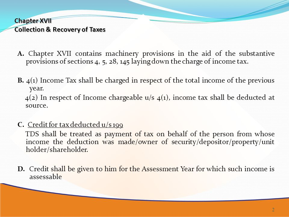 Chapter XVII Collection & Recovery of Taxes