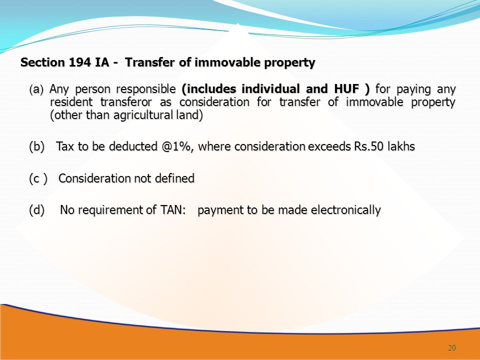 Section 194 IA - Transfer of immovable property