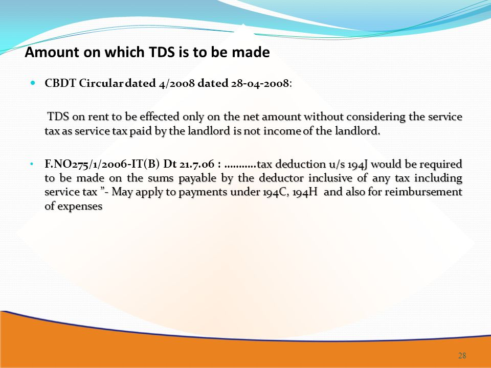 Amount on which TDS is to be made