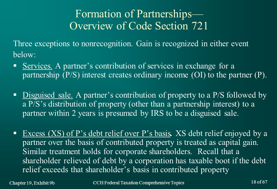 Formation of Partnerships— Overview of Code Section 721