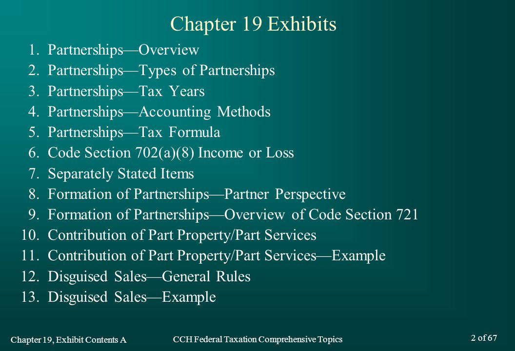 Chapter 19 Exhibits 1. Partnerships—Overview