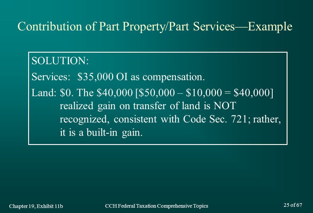 Contribution of Part Property/Part Services—Example