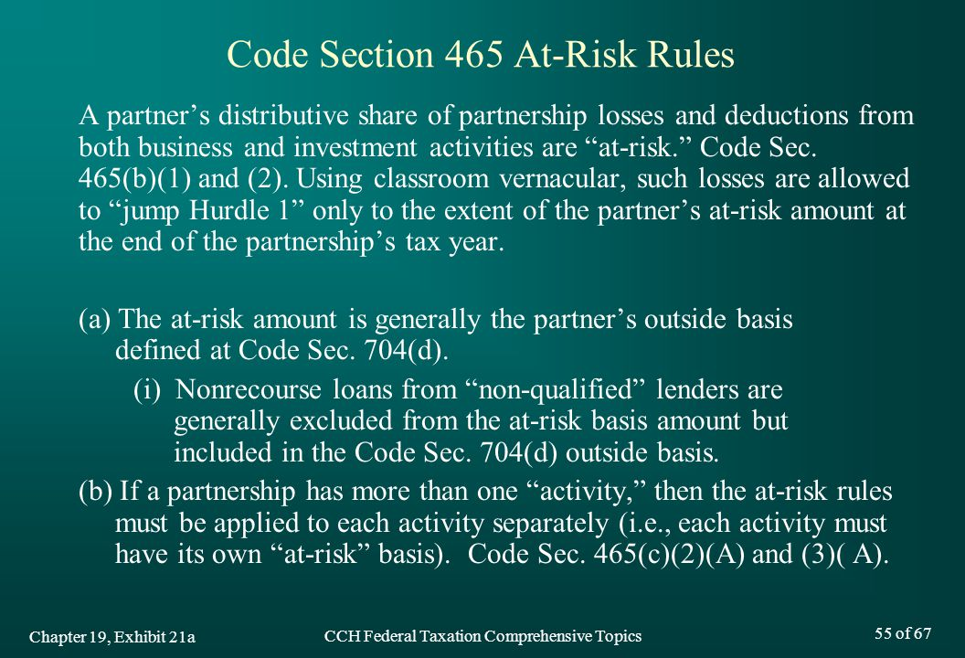 Code Section 465 At-Risk Rules