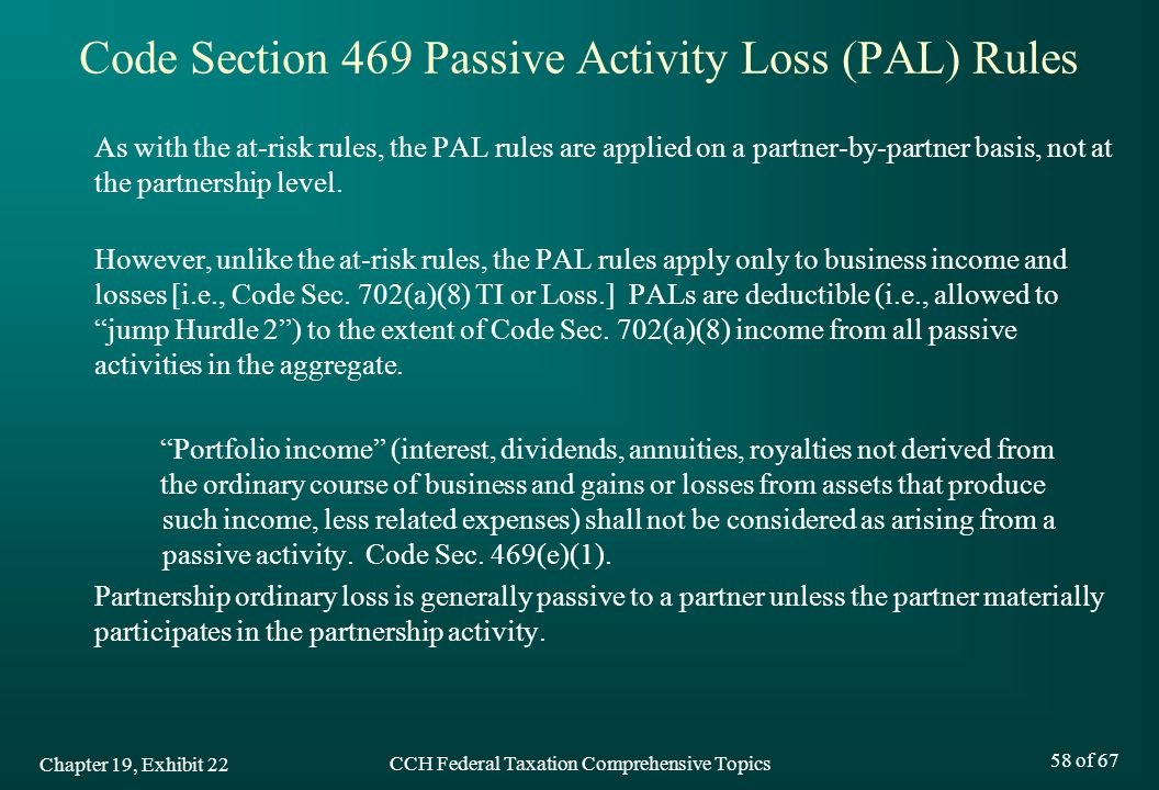 Code Section 469 Passive Activity Loss (PAL) Rules