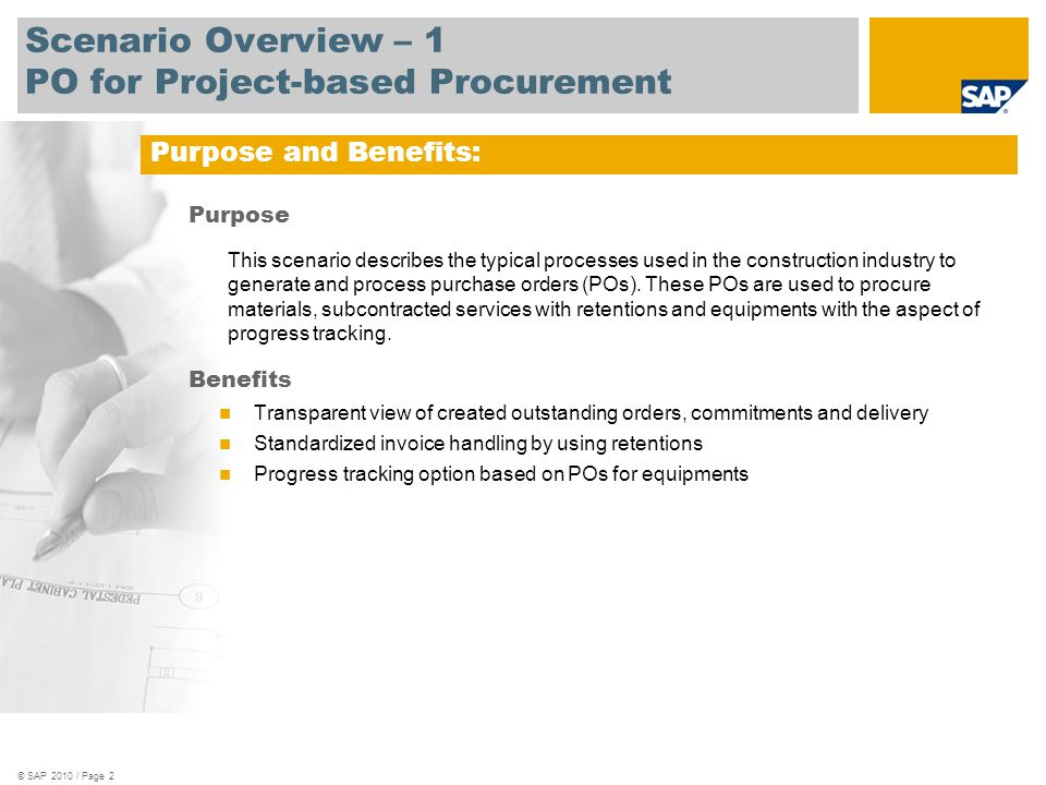 Scenario Overview – 1 PO for Project-based Procurement