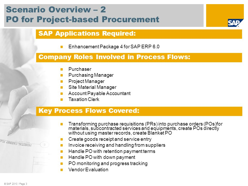 Scenario Overview – 2 PO for Project-based Procurement