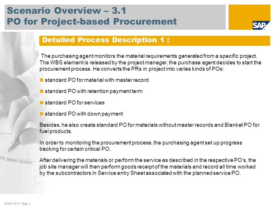 Scenario Overview – 3.1 PO for Project-based Procurement