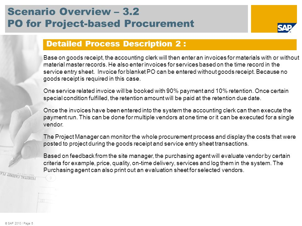 Scenario Overview – 3.2 PO for Project-based Procurement