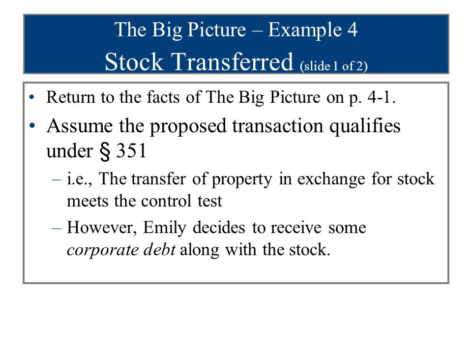 The Big Picture – Example 4 Stock Transferred (slide 1 of 2)