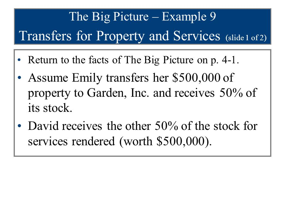 The Big Picture – Example 9 Transfers for Property and Services (slide 1 of 2)