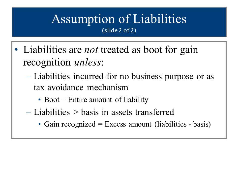 Assumption of Liabilities (slide 2 of 2)