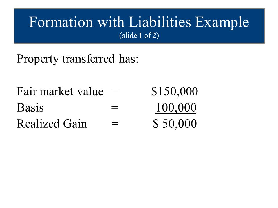 Formation with Liabilities Example (slide 1 of 2)