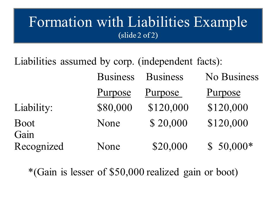 Formation with Liabilities Example (slide 2 of 2)